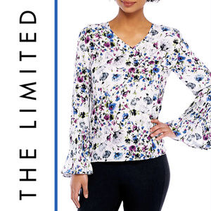 The Limited | Floral Pleated Bell Cuff Blouse